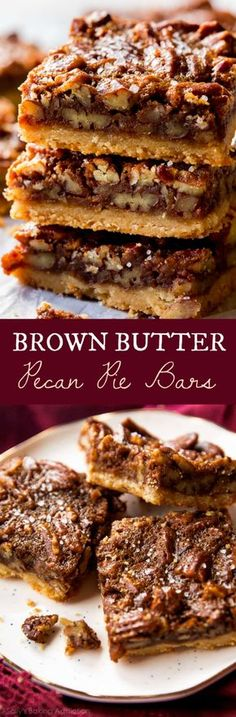 Brown Butter Pecan Pie Bars So much easier than baking an entire pie! These brown butter pecan pie bars are made with maple syrup and brown sugar. Recipe on sallysbakingaddic… Pecan Recipes, Sweet Recipes, Baking Recipes, Cookie Recipes, Kitchen Recipes, Köstliche Desserts, Delicious Desserts, Dessert Recipes, Yummy Food