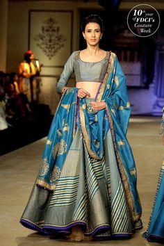 blue and grey wedding lehenga | Reynu Taandon Indian Wedding Couture Fashion 2017 | the big fat indian wedding inspiration