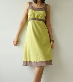 HemLemon Green and Brown Cotton dress by aftershowershop on Etsy