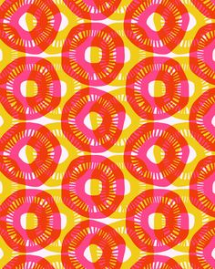 Sunshine Stretched Canvas by Allison Holdridge >>  Great dye-like design! Color layering, single repeated image. Block print shape?