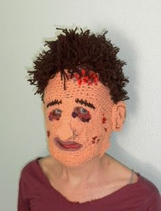 Kurtis Skaife crochets awesome masks, as well as 2d images. I want this Leatherface mask!