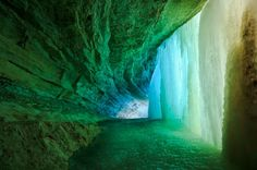 Behind the Frozen Minnehaha Falls