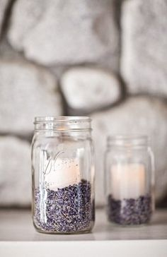 mason jar candles, warmth of flame releases lavender scent - projectwedding