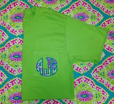 Monogrammed+Pocket+Tee+with+Paisley+Fabric+by+FabulouslySouthern,+$22.00 paisley lime green pink monogrammed pocket tee shirt tshirt monogram initials personalized women's clothes