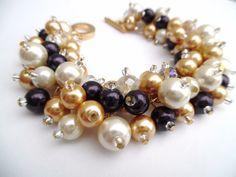 Aubergine Pearl Bracelets Bridesmaids Gifts Dark by KIMMSMITH