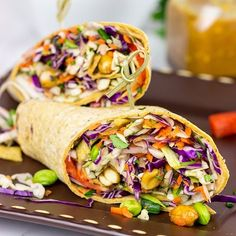 Make lunch fun again with these Thai Peanut Wraps! Flatout Bread Make lunch fun again with these Thai Peanut Wraps! Veggie Recipes, Lunch Recipes, Asian Recipes, Whole Food Recipes, Cooking Recipes, Veggie Lunch Ideas, Peanut Recipes, Top Recipes, Easy Recipes