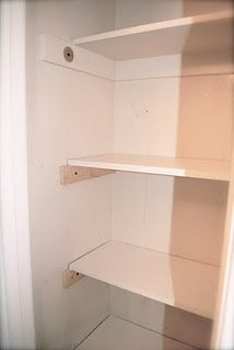 DIY easy way to add shelves to your closet! 1X4 for the supports.