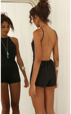 Playsuits/Jumpsuits > Backless Playsuit in Black
