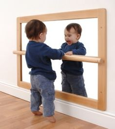Pull Up Baby Mirror 25 Montessori Wooden Baby Toys by HappyTreeStore Playroom Montessori, Baby Playroom, Montessori Toddler Bedroom, Montessori Infant, Maria Montessori, Baby Spiegel, Micro Creche, Baby Mirror, Infant Classroom
