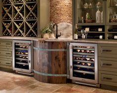 True built-in wine & beverage fridge. - via Interior Canvas; check out the wine barrel sink! Above Kitchen Cabinets, Wine Cabinets, Kitchen Appliances, Upper Cabinets, Beverage Refrigerator, Wine Fridge, Home Bar Designs, Wine Storage, Storage Crates