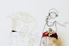 Julia Jowett. mix of wire art, illustration and stitching. beautiful, elegant and distinctive