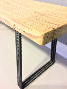 Relcaimed Urban Wood Bench with Industrial Rebar Legs by DendroCo