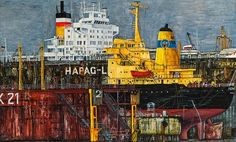 Hapag Lloyd, Dock 21 von Karl Goldammer-Strnad 21st, Painting, Auction, Pictures, Painting Art, Paintings, Painted Canvas, Drawings