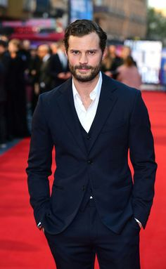 Suited and booted: The Fifty Shades of Grey star looked dashing in a sharply tailored three-piece suit as he stormed the red carpet during the BFI London Film Festival Fifty Shades Of Grey Wallpaper, 50 Shades Of Grey, Jamie Dornan, 50 Shades Freed, London Film Festival, Mr Grey, Three Piece Suit, Cute Guys, New Outfits