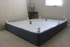 DIY Upholstered Box Spring. A real bed for the price of 5 yards of fabric and 8 furniture legs