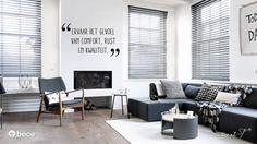 Houten Zwart Jaloezieën in de woonkamer trend foto stoer grijs #artfloor