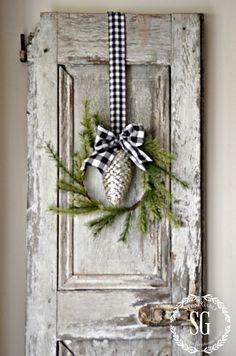 CREATIVE WAYS TO USE CHRISTMAS WREATHS-wreath on shutters-stonegableblog.com