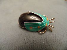 VINTAGE SILVER BLUE ENAMEL BEETLE BUG INSECT PIN BROOCH GOLD WASH