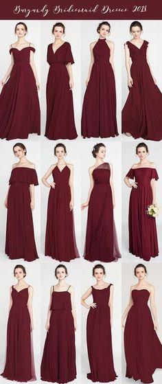 burgundy bridesmaid dresses for 2018 trends #bridalparty #bridesmaiddresses #2018wedding