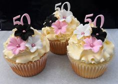 Samples made for Belinda Mum's 50th Birthday - hope she likes them. Vanilla cupcakes with vanilla swiss buttercream.