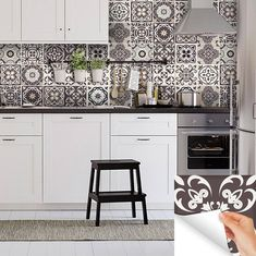 NEW Home decor Ideas Talavera Bathroom Tile Sticker Set of 24 Tiles decal mixed Tiles for walls Kitchen home decoration Mexican tile Bathroom Tile Stickers, Tile Decals, Wall Tiles, Wall Stickers For Kitchen, Wall Decal, Black And White Backsplash, Moroccan Kitchen, Kitchen Decor, Kitchen Design