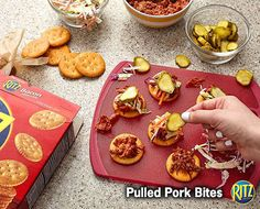 15 mins to make, serves 24 -- INGREDIENTS -- MEAT • 1 cup Pulled pork with barbecue sauce • 48 Ritz bacon flavored crackers CONDIMENTS • 2 Dill pickles (about 3 inches long), large DELI • 1/2 cup Coleslaw