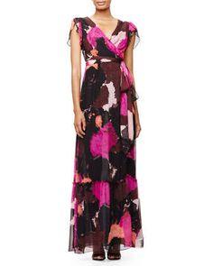 New Julian Two Maxi Wrap Dress, Dancing Explosion by Diane von Furstenberg at Neiman Marcus.