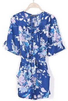 Blue Half Sleeve Floral Belt Chiffon Jumpsuits