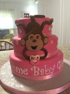 Pink Monkey Baby Shower Cake