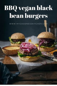 Full-bodied, juicy and so satisfying, these vegan black bean burgers are the BOSS. On the table in around 25-minutes | www.mygoodnesskitchen.com | #veganburgers #burgerrecipe #veggieburger