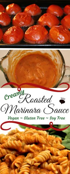 This creamy vegan oven roasted tomato sauce is the easiest homemade marinara pasta sauces ever! So creamy, you will never guess that it's vegan and GF too! Pasta Sauce Dairy Free, Vegan Pasta Sauce, Pasta Sauce Recipes, Marinara Sauce, Pasta Sauce Vitamix, Oven Roasted Tomatoes, Roasted Tomato Sauce, Tomato Sauce Recipe, Homemade Pasta Sauce Easy