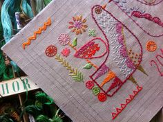 Hand embroidered Sampler download with vintage Anchor box of threads
