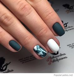 Matte nails with white and grey