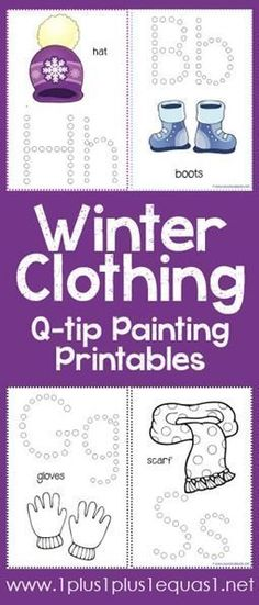 Winter Clothing Q-Tip Painting Printables {free} from /1plus1plus1/