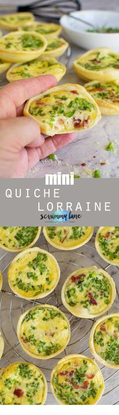 There are never any of these mini quiche lorraine left at the party. Stash some away in the freezer. Only 6 ingredients - and no pre baking of the pastry! via @scrummylane