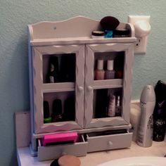 Old spice rack into makeup/nail polish holder.