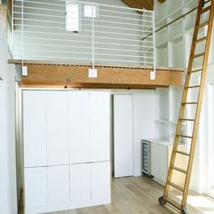 Extraordinary Loft Bed Station Ideas In Garage And Shed Modern Design Ideas With Built In Shelves Exposed Beams Library Ladder Light Simple Bathroom Ladder Design Ideas Garage Design, Loft Design, House Design, Modern Design, Studio Design, Bed Design, Garage Renovation, Garage Remodel, Garage Makeover
