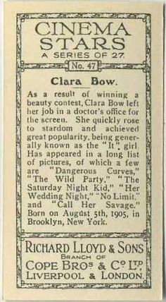 Reverse side of Clara Bow 1935 Lloyd Cinema Stars, Series 2 #47 on Immortal Ephemera