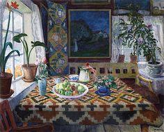 "lilacsinthedooryard: "" Nicolai Astrup (Norway, 1880-1928) Interior Still Life: Living Room at Sandalstrand 1921 """