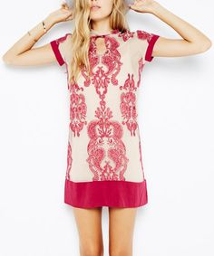 Another great find on #zulily! Wine & Blush The Sweetest Sound Embroidered Mesh Dress #zulilyfinds