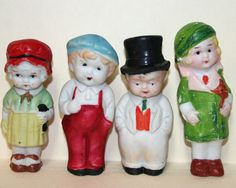 4 VINTAGE BISQUE JAPAN DOLLS girl slate - toy / boy red overalls - groom top hat
