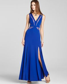 BCBGMAXAZRIA Lace Inset Gown - Sleeveless V Neck | Bloomingdale's
