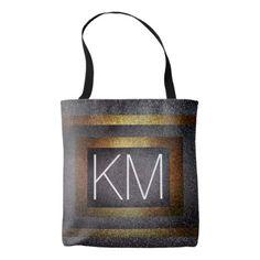 Faux Dark Gold & Silver Glitter Initialed Monogram Tote Bag - glitter glamour brilliance sparkle design idea diy elegant