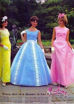 Remember when prom dresses looked like this? Mine was pale blue like the middle dress but without the white lace trim. Mine had a puffy sort of bustle effect in back. Vintage Prom, Vintage Gowns, Vintage Mode, Vintage Bridal, Mod Fashion, 1960s Fashion, Vintage Fashion, 1960s Dresses, Prom Dresses