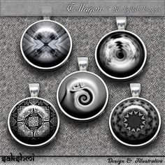 Schwarz und weiß - Set 2 – Digital Design - 20 Buttons zum Ausdrucken. 300 DPI