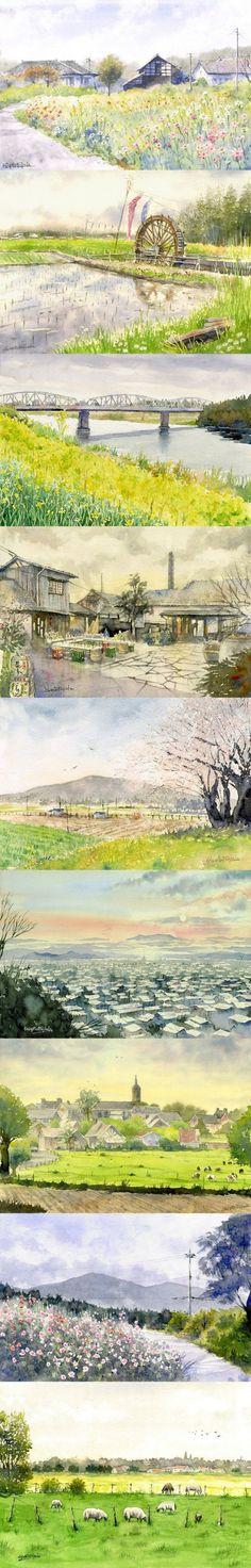 来自日本藤枝成人的水彩作品~仿佛已经掉进了画中的美丽世界,这样的风景,用水彩来表现最相宜了!