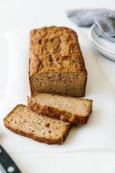 Downshiftology super moist paleo zucchini bread recipe - almond flour, tapioca flour and coconut flour. It's gluten-free, grain-free, dairy-free and extremely delicious. Gluten Free Zucchini Bread, Zucchini Bread Recipes, Paleo Bread, Paleo Baking, Gluten Free Baking, Gluten Free Recipes, Gourmet Recipes, Paleo Food, Flour Recipes