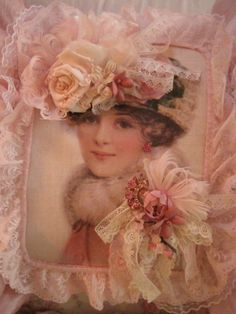 embellishing with vintage flowers, lace, ribbons, jewels and wonderful baubles