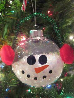 use earmuffs for snowman light ornament instead of hat
