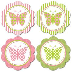 Free printable butterfly embellishments or make into tags Más Printable Labels, Printable Paper, Party Printables, Free Printables, Printable Butterfly, Scrapbook Paper, Scrapbooking, Butterfly Birthday Party, Butterfly Cupcakes
